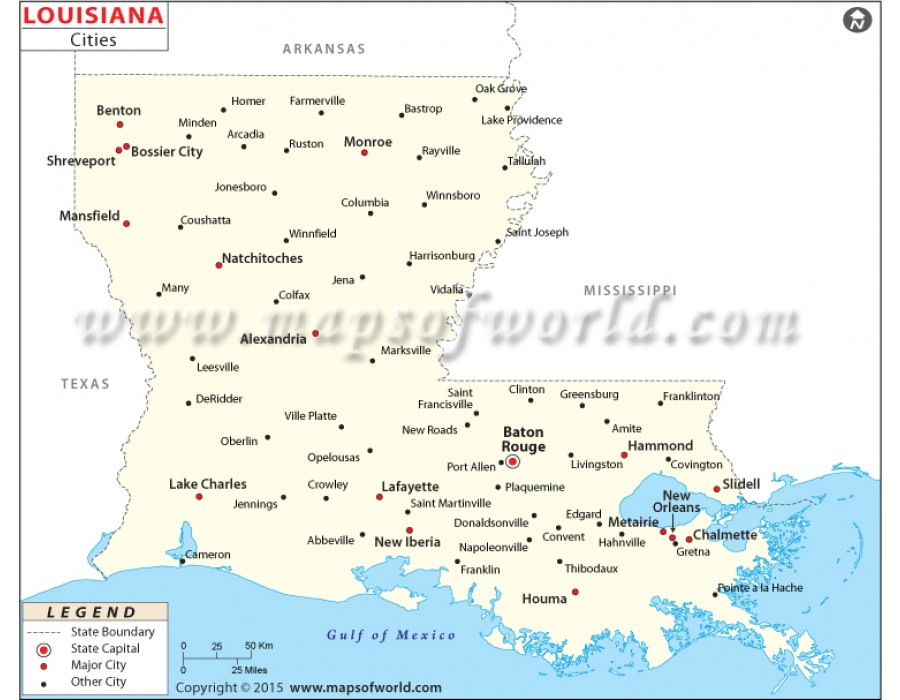 Buy Map of Louisiana Cities