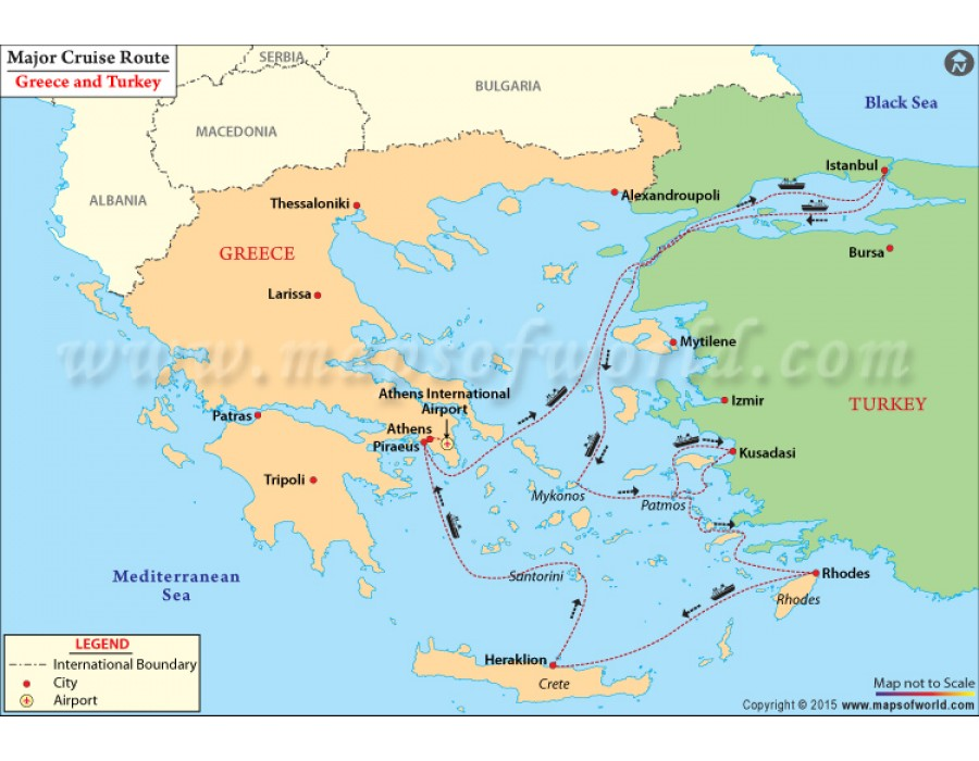 Buy Map Of Major Cruise Route Between Greece And Turkey