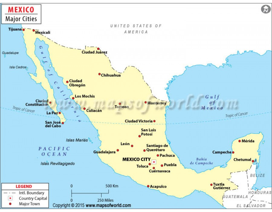 Buy Mexico Map With Cities