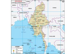 Myanmar Latitude and Longitude Map