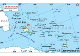 Bahamas Latitude and Longitude Map