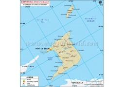 Trinidad and Tobago Latitude and Longitude Map