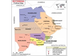 Political Map of Botswana