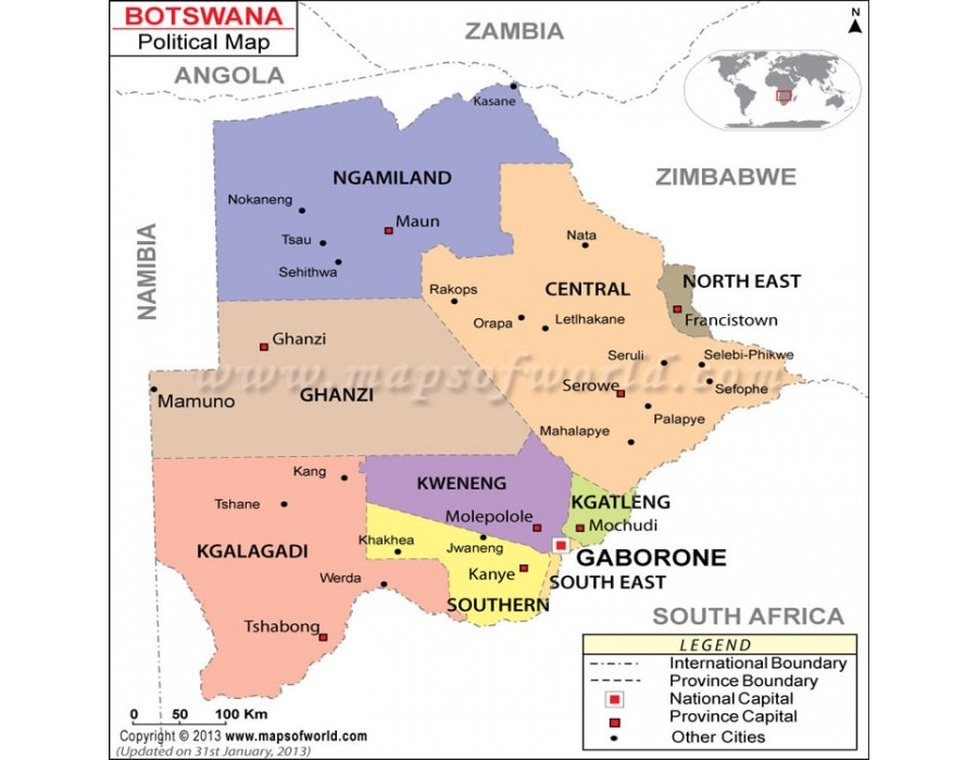 Buy Political Map of Botswana