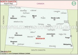 North Dakota Airports Map