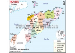 Political Map of Timor-Leste