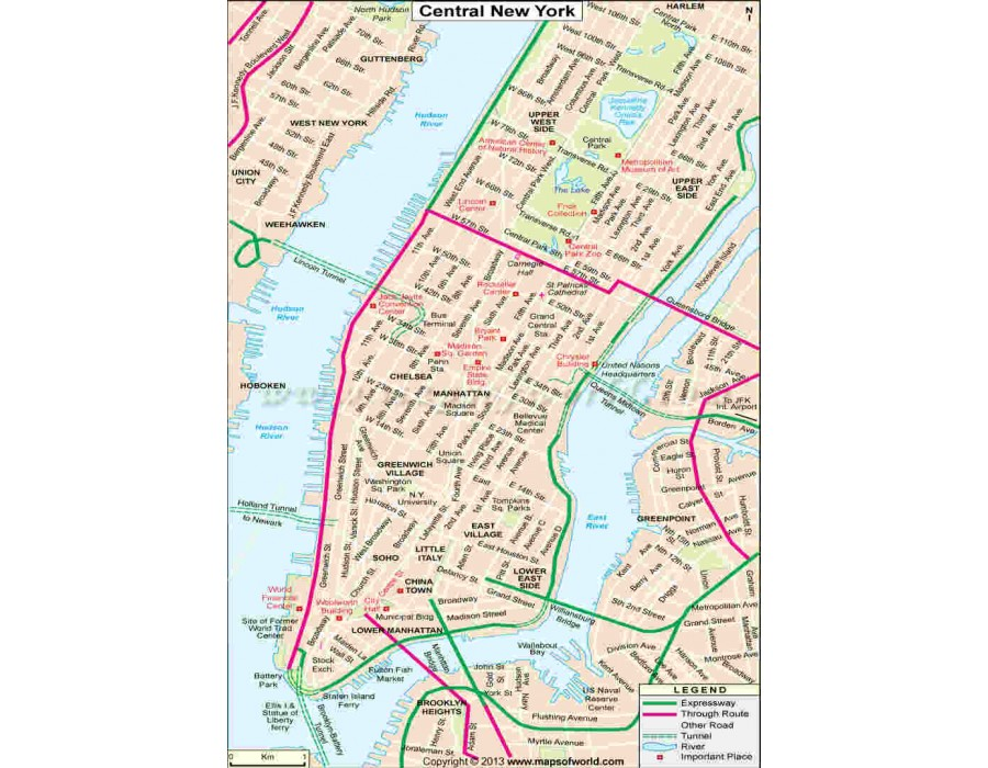 Buy Central New York Map