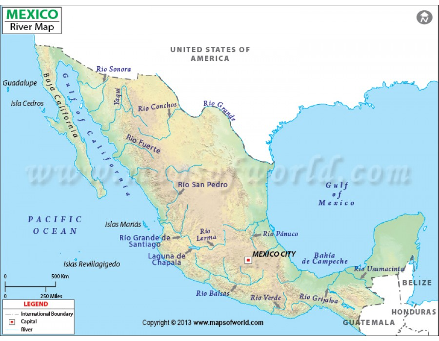 Buy Mexico River Map