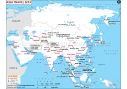 Asia Continent Travel Map