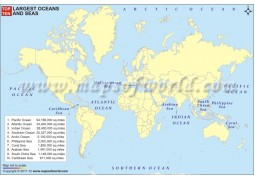 Top Ten Largest Oceans and Seas Map