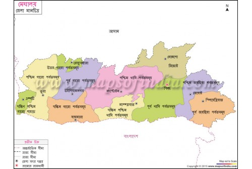Meghalaya District Map In Bengali Language