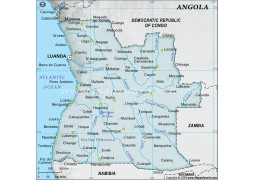 Angola Digital Map - Gray Color