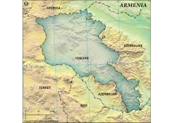 Armenia Blank Map, Dark Green