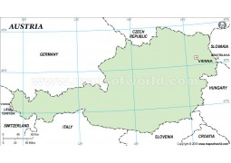 Austria Outline Map, Green