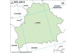 Belarus Outline Map, Green