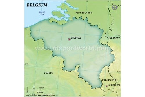 Belgium Blank Map in Dark Green Background