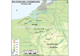Belguim and Luxembourg Physical Map