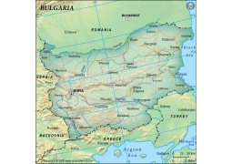 Bulgaria Political Map, Dark Green