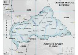 Central African Republic Physical Map in Gray Color