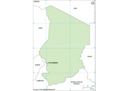 Chad Outline Map in Green Color