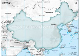 China Blank Map in Gray Background