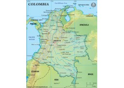 Colombia Political Map, Dark Green