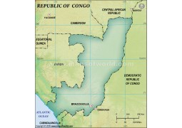 Congo Blank Map, Dark Green