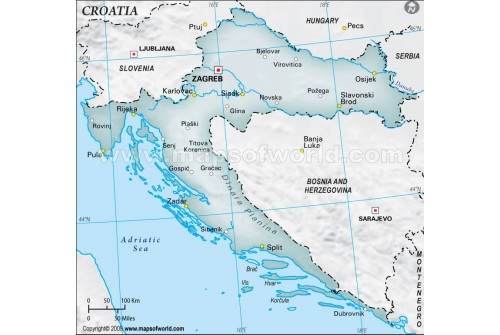 Croatia Physical Map with Cities in Gray Color
