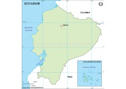 Ecuador Outline Map in Green Color