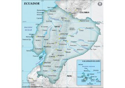 Ecuador Physical Map, Gray