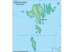 Faroe Islands Blank Map, Dark Green