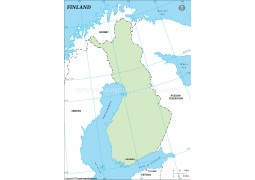 Finland Outline Map, Green