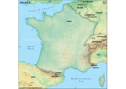France Blank Map, Dark Green