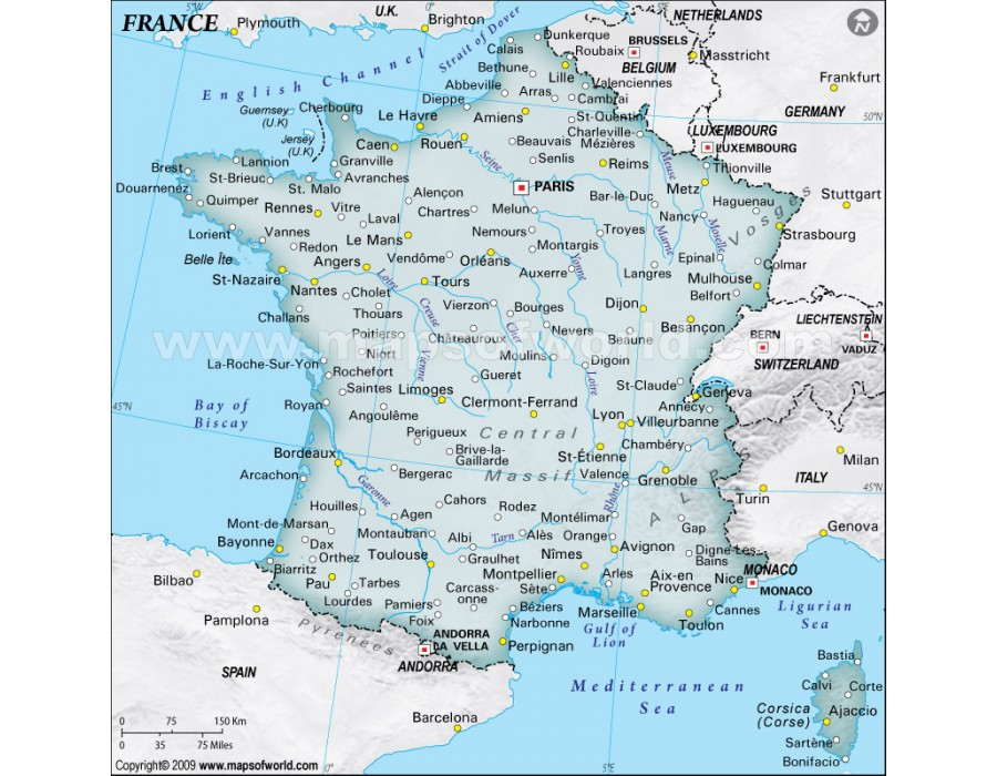 Buy France Physical Map Dark Green