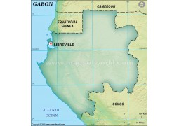 Gabon Blank Map, Dark Green