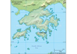 Hong Kong Blank Map in Dark Green Background