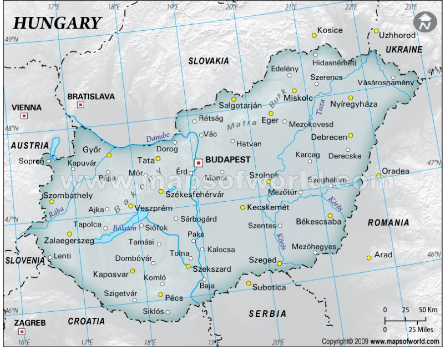 Buy Hungary Physical Map with Cities in Gray Color