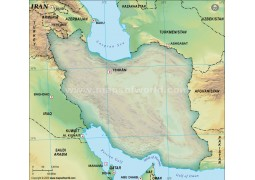 Iran Blank Map, Dark Green