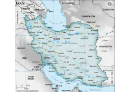 Iran Physical Map with Cities in Gray Background