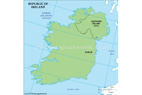 Ireland Outline Map in Green Color