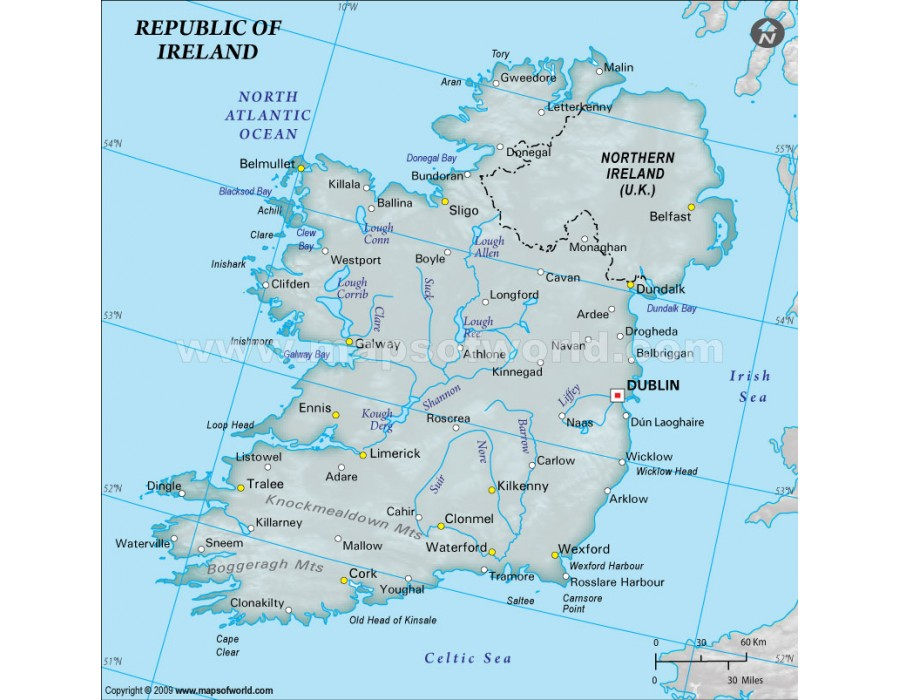 Physical Map Of Ireland.Buy Ireland Physical Map With Cities In Gray Color