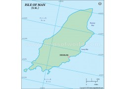 Isle of Man (Mann) Outline Map in Green Color