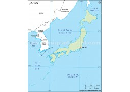 Japan Outline Map in Green Color
