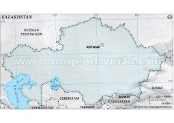 Kazakhstan Blank Map, Gray