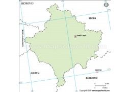 Kosovo Outline Map in Green Color