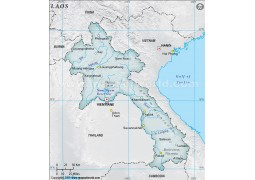 Laos Physical Map, Gray