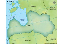 Latvia Blank Map, Dark Green