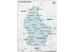 Luxembourg Map with Cities, Gray