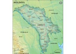 Moldova Political Map, Dark Green
