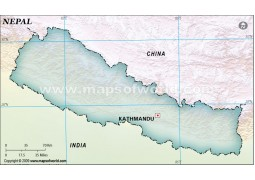 Nepal Blank Map, Dark Green